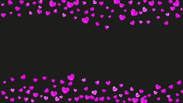 ピンクのキラキラハートの結婚式の紙吹雪。バレンタイン・デー。ベクトルの背景。手描きのテクスチャ。パーティーの招待状、小売りのオファー、広告のテーマが大好きです。ハートの結婚式の紙吹雪テンプレート。