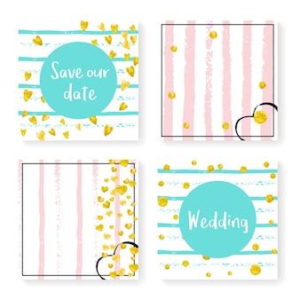 ストライプの結婚式の紙吹雪。招待状セット。ピンクとミントの背景にゴールドのハートとドット。パーティー、イベント、ブライダルシャワー用の結婚式の紙吹雪のテンプレート、日付カードを保存します。