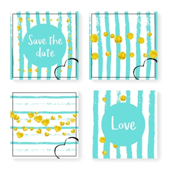 Wedding confetti with stripes. invitation set. gold hearts and dots on mint and white background. template with wedding confetti for party, event, bridal shower, save the date card.