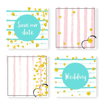 Wedding confetti with stripes. invitation set. gold hearts and dots on pink and mint background. template with wedding confetti for party, event, bridal shower, save the date card.