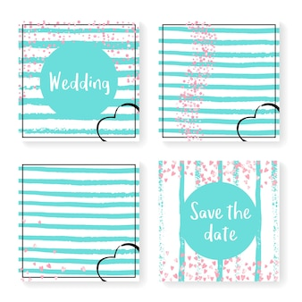 ストライプの結婚式の紙吹雪。招待状セット。ミントと白の背景にピンクのハートとドット。パーティー、イベント、ブライダルシャワー用の結婚式の紙吹雪でデザインし、日付カードを保存します。