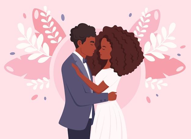 Свадебная пара афроамериканская супружеская пара