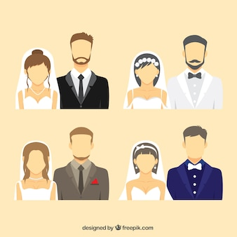 Wedding couple avatar collection Free Vector