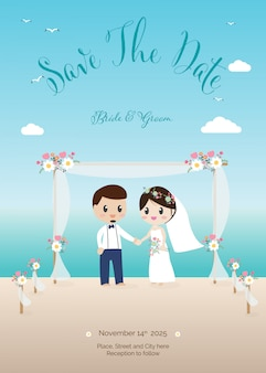 Wedding couple on beach invitation card