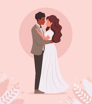 웨딩 커플 흑인 남자와 여자 결혼하는 신혼 부부