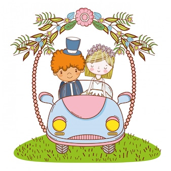 Wedding couple on car cute cartoon