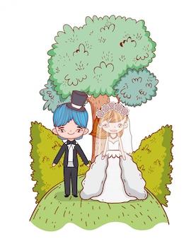 Wedding couple cartoons