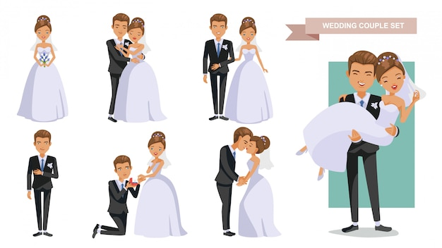 Wedding couple characters posture set.   in love. valentine's day.