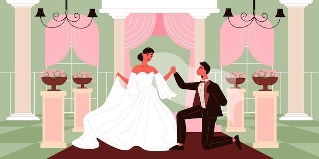 屋内ホールのインテリアとスマートな衣装のイラストで新郎新婦のキャラクターと結婚式のカップルの構成 無料ベクター