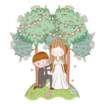 Wedding couple cute cartoon