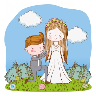Wedding couple cute cartoon