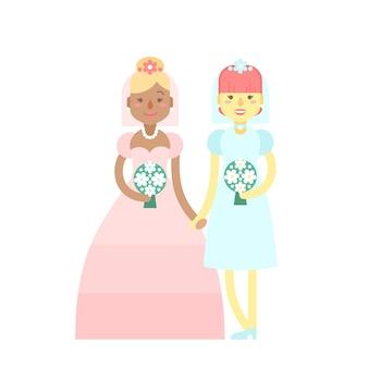 Свадебная пара, милые плоские персонажи, невесты, счастливые девушки