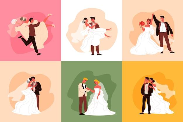 Концепция дизайна свадебной пары с персонажами жениха и невесты в различных ситуациях в костюмах для церемонии