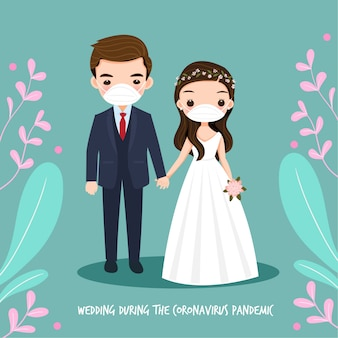 コロナウイルスのパンダミック中の結婚式のカップル
