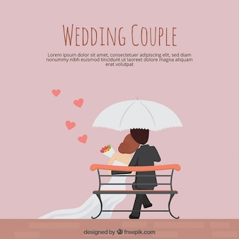 Wedding couple in flat design