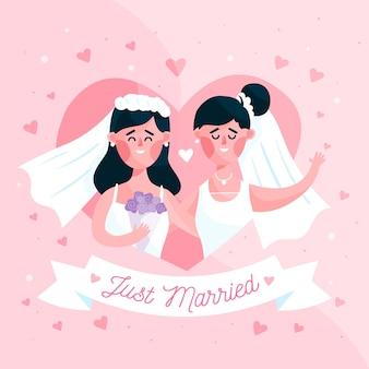 Wedding couple in flat design