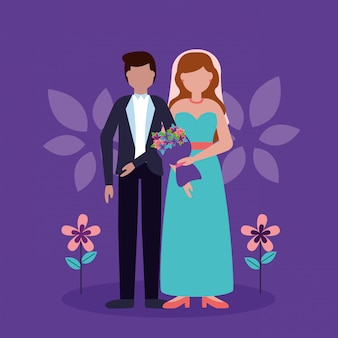 Wedding couple in flat style