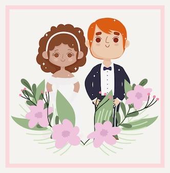 結婚式のカップルと花
