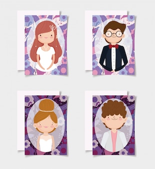 Wedding couple, grooms and brides flowers border cards