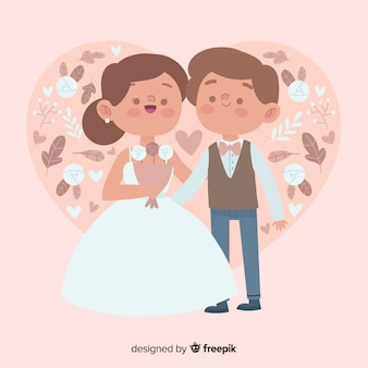 Wedding couple hand drawn style