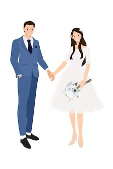 正式なネイビーブルーのスーツとドレスで手を繋いでいる結婚式のカップル