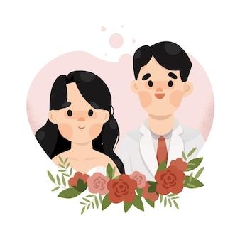 Свадебная пара иллюстрация