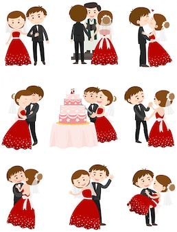 Wedding couple in different actions
