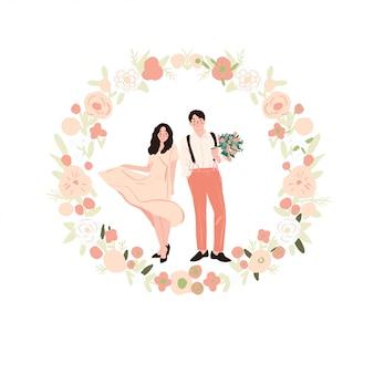 花の花輪の結婚式のカップル