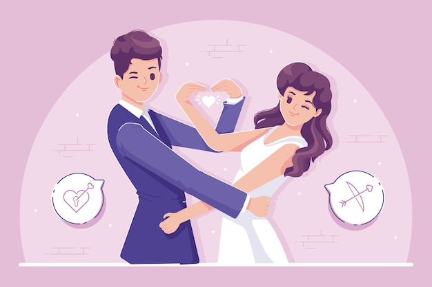 愛の図の結婚式のカップル