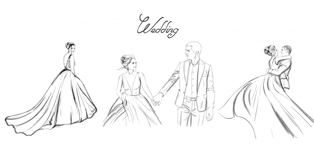 Wedding couple lineset. bride silhouette vintage style. beautiful long dress.