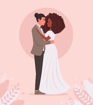 Свадебная пара мужчина и черная женщина женятся молодоженов