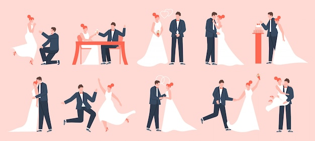 Wedding couple. marriage bride and groom, newlyweds in love, young family dancing and celebrating, marriage ceremony  illustration set. bride and groom, wedding marriage love, dress newlywed