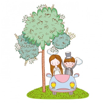 Wedding couple marriage cute cartoon