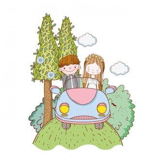 Wedding couple marriage cute cartoon