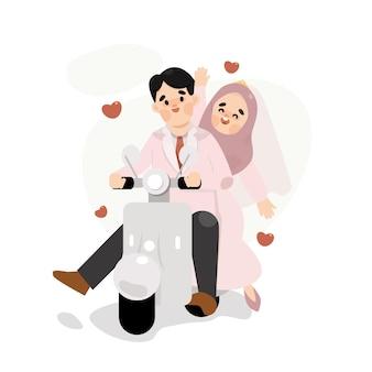 귀여운 스쿠터 일러스트와 함께 웨딩 커플 이슬람교도