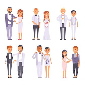 結婚式のカップルの人々