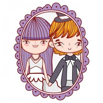 Wedding couple photo drawings