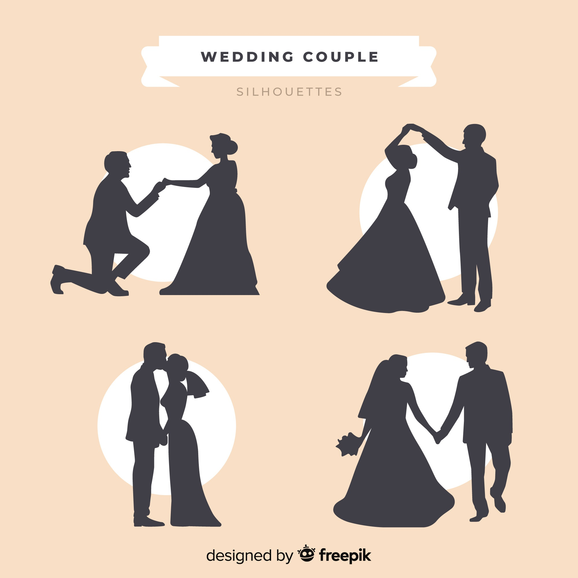 Wedding couple silhouette collection