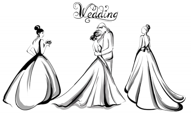 Wedding couple silhouette line art