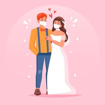 フェイスマスクを身に着けている結婚式のカップル