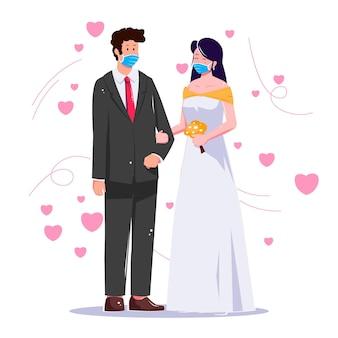 Wedding couple wearing face masks