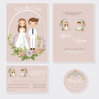 Wedding couple with invitations card set