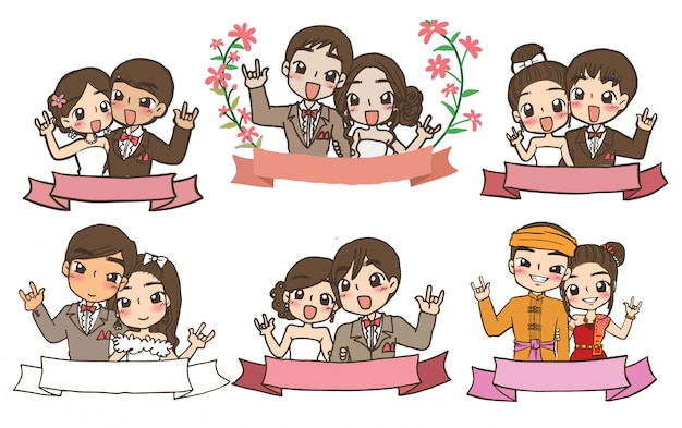 Wedding couple with ribbon cartoon