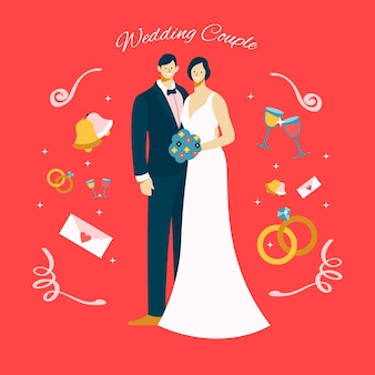 Wedding couples in flat design