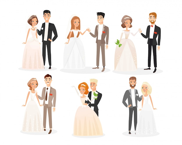 結婚式のカップルフラットイラストセット。新郎新婦の漫画のキャラクターパック。婚約式。ベールとお祝い衣装の男と白いブライダルドレスの女性。新婚夫婦のコレクション。