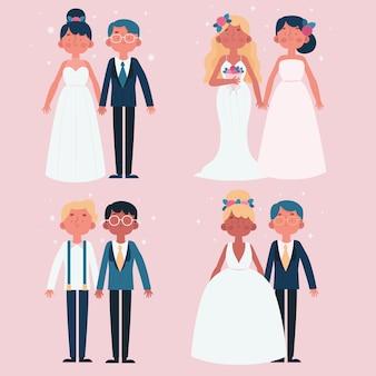 Концепция иллюстрации свадебных пар