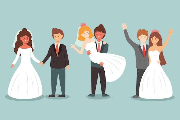 Wedding couples illustration