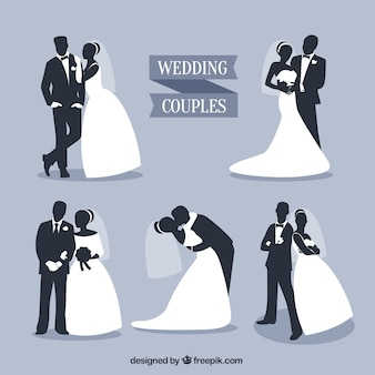 Wedding couples silhouettes set