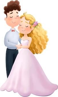 결혼식 귀여운 신부와 신랑 사랑 그림.