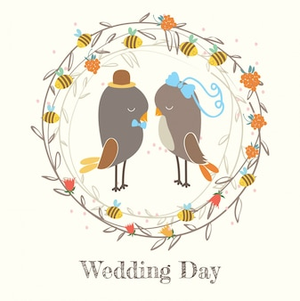 Wedding day. Birds.